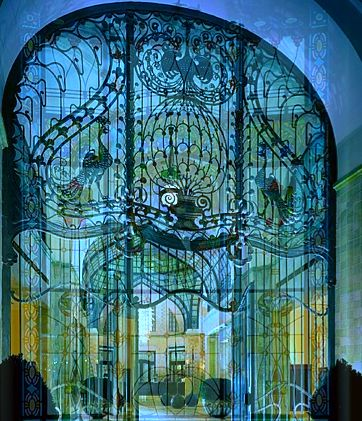 Secessionist Peacock gate of Gresham Palace Four Seasons Luxury Hotel Budapest Hungary