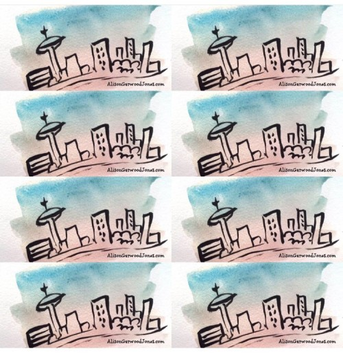 Watercolor of Toronto Skyline by Alison Garwood-Jones