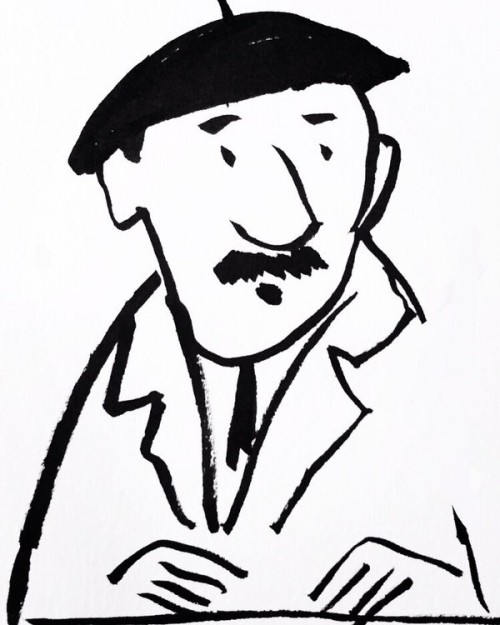 Pen brush drawing of a French man in a beret.