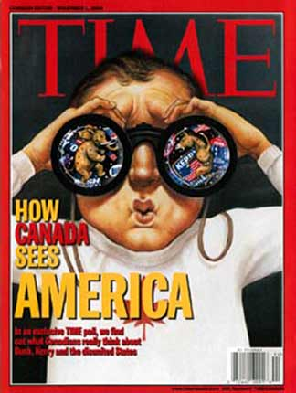 Time Magazine cover, How Canada Sees America, by Anita Kunz