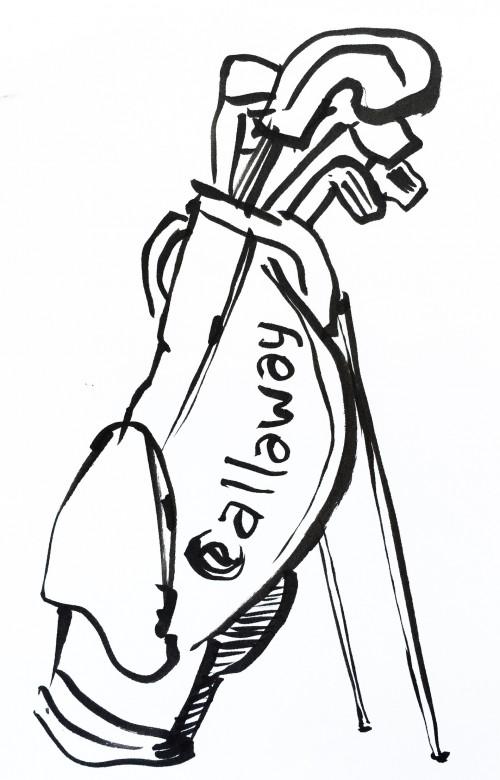 Calloway golf bag. Pentel Brush Pen drawing.