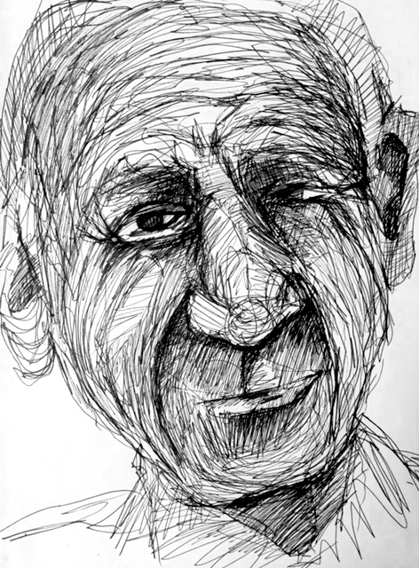 Black pen drawing of Picasso by Alison Garwood-Jones