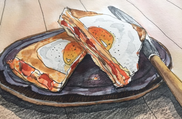 Illustration of an egg sandwich
