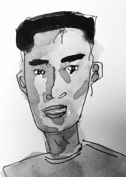 Sketch of Asian man