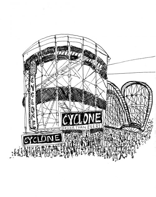 Coney Island Cyclone Coaster Illustration by Alison Garwood-Jones