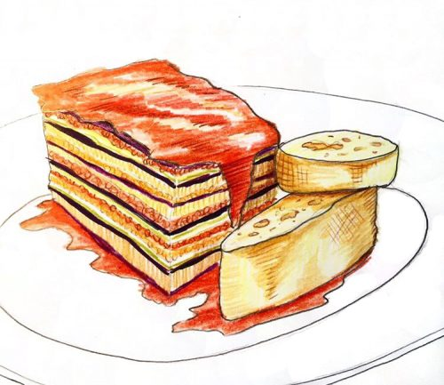 Eggplant lasagna sketch by Alison Garwood-Jones