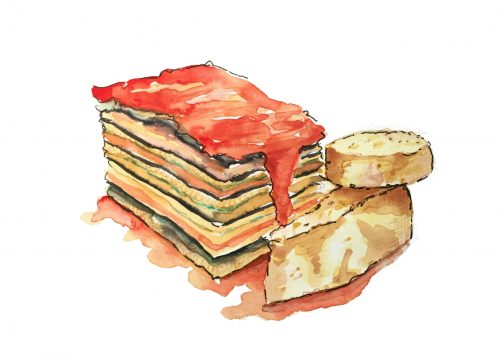 Eggplant Lasagna drawing by Alison Garwood-Jones