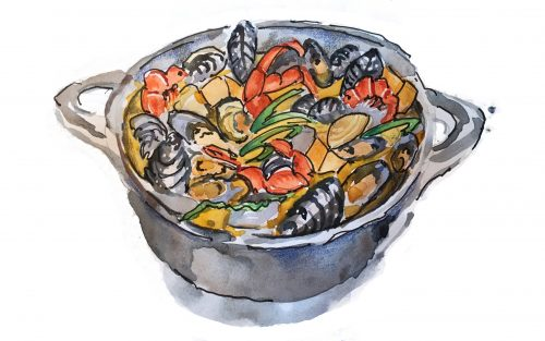 Seafood Pot Illustration by Alison Garwood-Jones