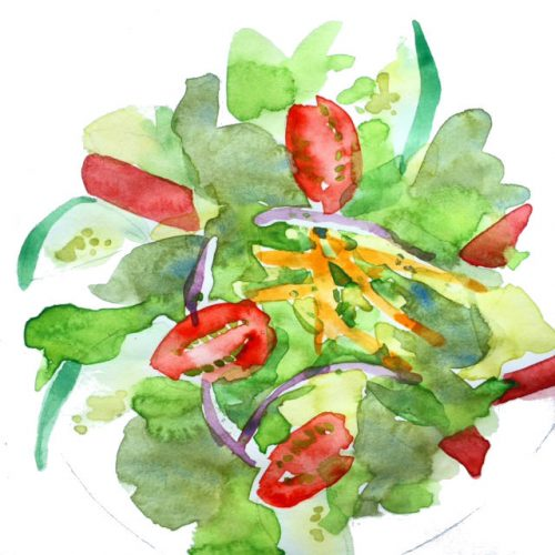 Traveller's Salad Sketch by Alison Garwood-Jones