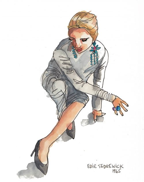 Edie Sedgwick drawing by Alison Garwood-Jones