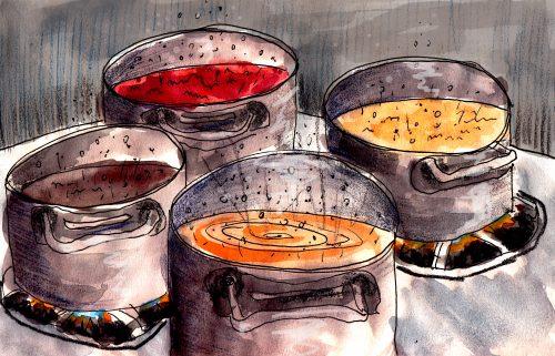 Beans on the boil illustration by Alison Garwood-Jones