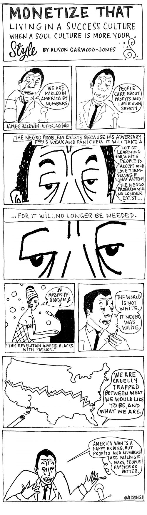 James Baldwin cartoon by Alison Garwood-Jones