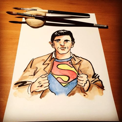 Joe Shuster illustration by Alison Garwood-Jones, with homemade brush holder