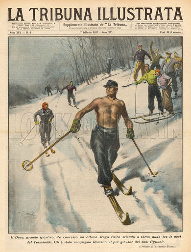 Mussolini Goes Skiing