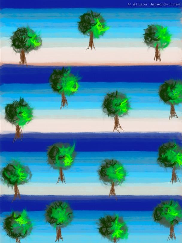 Trees and sky pattern by Alison Garwood-Jones