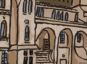 Close-up of Ontario Hall, Queen's University, by Alison Garwood-Jones