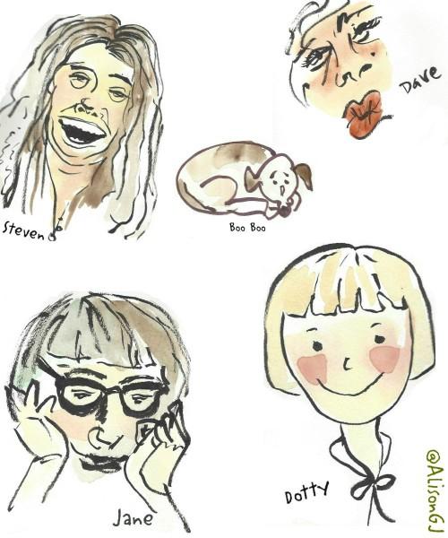 Watercolor cartoons by Alison Garwoodj-Jones