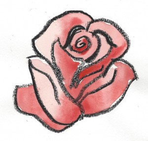 crayon and watercolor drawing of a rose