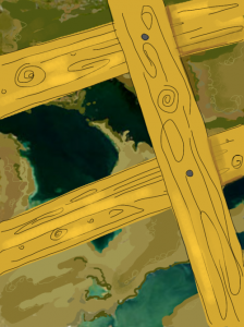 digital drawing of a map with boards nailed to it to indicate the end of summer.