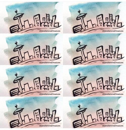 Watercolor of Toronto Skyline by Alison Garwood-Jones