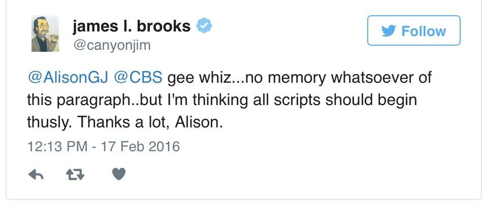 James L. Brooks Tweet