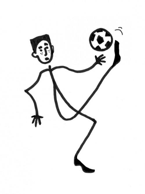 Stick figure kicking a soccer ball