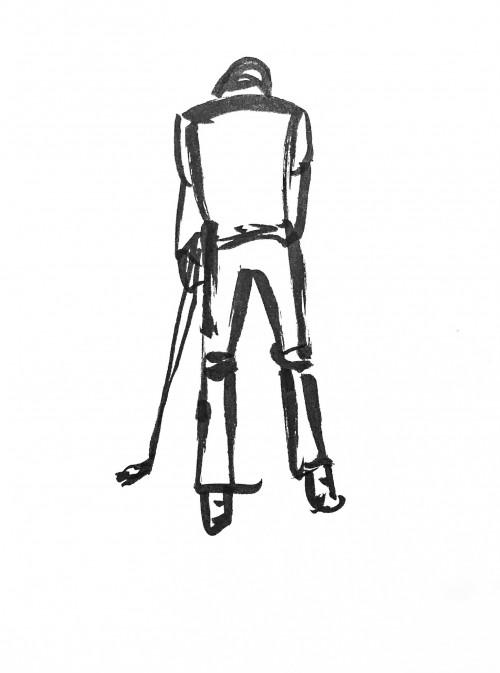 Golfer preparing to putt. Pentel Brush Pen drawing.
