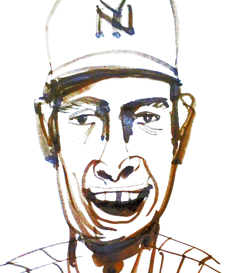 Joe DiMaggio pen brush sketch