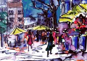 Watercolour of flower vendors in the street