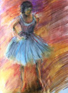 Watercolour pencil copy of a Degas ballerina.