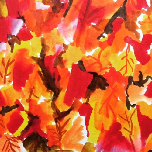 Autumn leaves painted with Tombow Brush Pens.