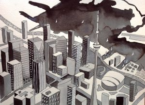 Ink drawing of Toronto by Alison Garwood-Jones