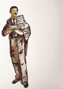 Waiter carrying plates. #PentelBrushPen #Watercolour