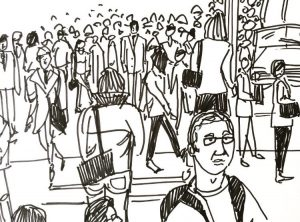 Blind contour drawing of a crowd scene by Alison Garwood-Jones