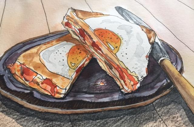 Illustration of an egg sandwich