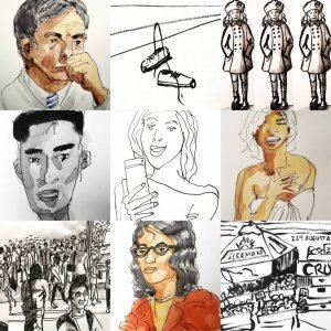 Collage of drawings by Alison Garwood-Jones