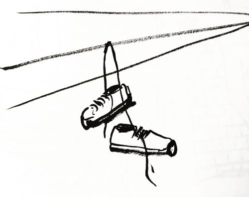Drawing of shoes hanging from electrical wires by Alison Garwood-Jones