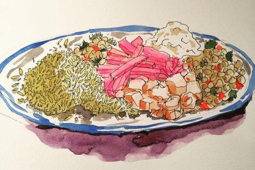 Watercolor drawing of chicken shawarma
