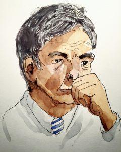 A watercolour drawing of a man by Alison Garwood-Jones