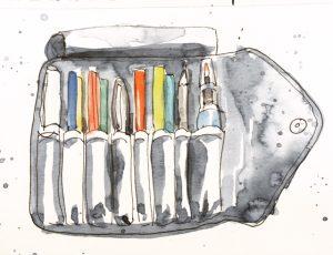 Makeup brush kit doubling as an art supply pouch. Watercolour by Alison Garwood-Jones