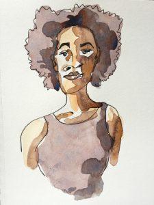 Watercolour sketch of Kara Walker, artist, by Alison Garwood-Jones