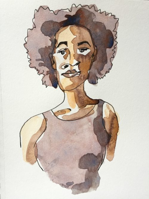 Watercolour sketch of Kara Walker, artist, by Alison Garwood-Jones
