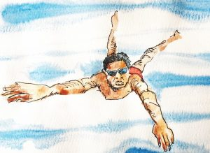 Watercolour of a swimmer