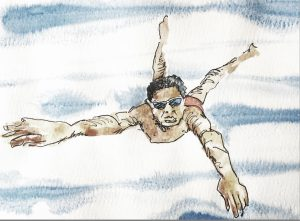 Watercolour of man swimming