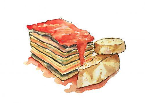 Eggplant Lasagna drawing by Alison Garwood-Jones