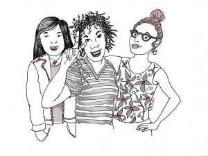Girls on the Bus illustration by Alison Garwood-Jones