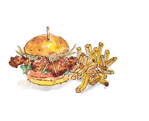 Fish burger sketch by Alison Garwood-Jones