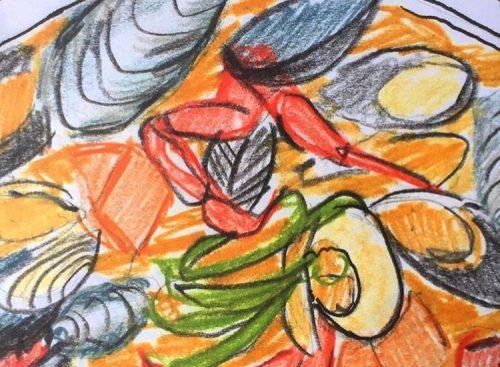 Seafood Pot Sketch by Alison Garwood-Jones