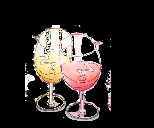 Two wine glasses - drawing by Alison Garwood-Jones