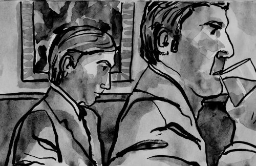 Watercolour sketch of guys in bar by Alison Garwood-Jones